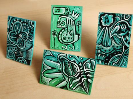 acrylics on cardboard