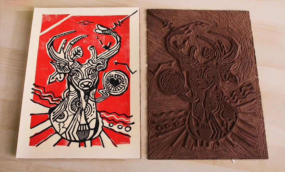 Linocut in the making. Animal illustration.