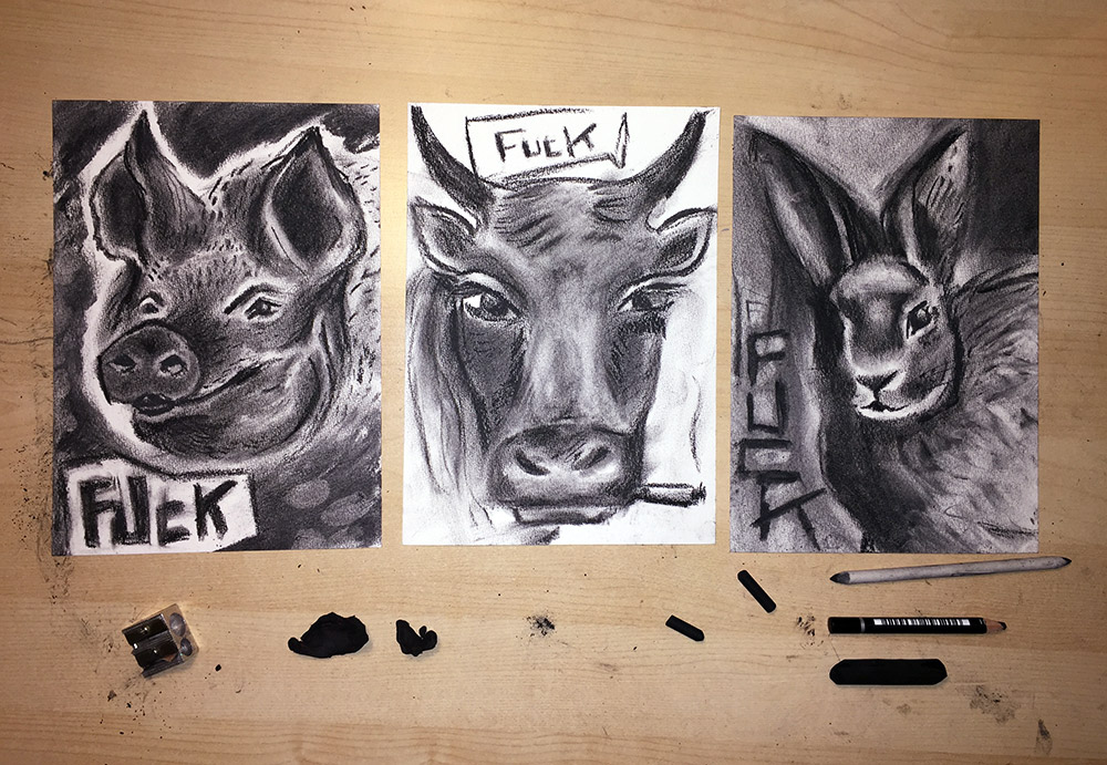 charcoal animals